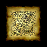 Manuscript Mixed Media - Celtic Letter Z Monogram by Kristen Fox
