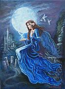Science Fiction Painting Prints - Celtic Moon Goddess Print by Tomas OMaoldomhnaigh