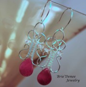 Sterling Silver Jewelry - Celtic Pink Crystal Woven Earrings by Brittney Brownell