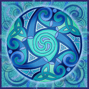 Big Blue Marble Mixed Media Prints - Celtic Planet Print by Kristen Fox