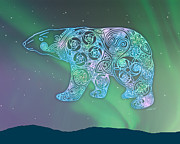 Northern Lights Mixed Media Posters - Celtic Polar Bear Poster by Kristen Fox