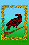 Knotwork Digital Art - Celtic Raven by Ingrid Frances Stark