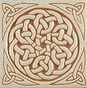 Carved Ceramics - Celtic relief carved ceramic art tile by Shannon Gresham