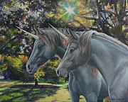 Unicorns Prints - Celtic Secrets Print by Louise Green