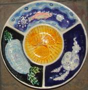 Navy Ceramics - Celtic Spiral Chip and Dip by Angela Annas