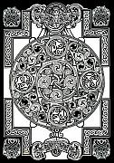 Morgan Drawings Posters - Celtic Tapestry drawing Poster by Morgan Fitzsimons