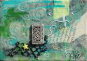 Sewing Mixed Media - Celtic Tones by Jennifer Kelly