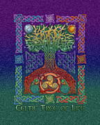Tree Roots Mixed Media Prints - Celtic Tree of Life Print by Kristen Fox