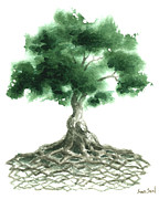 Zen Painting Posters - Celtic Tree Of Life Poster by Sean Seal