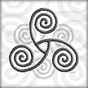 Celts Mixed Media Posters - Celtic Triple Spiral Poster by Kristen Fox