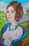 Europe Pastels - Celtic Woman with snake  by Diane Sellers