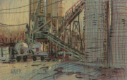 Industrial Pastels Originals - Cement Company by Donald Maier