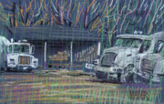 Plein Air Pastels Prints - Cement Trucks Print by Donald Maier