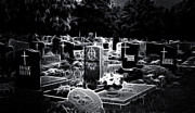 Headstones Digital Art Prints - Cemetary at Night Print by Ellen Lacey