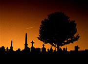 Headstones Prints - Cemetery and Tree Print by Mike Nellums