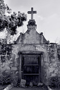Monotone Prints - Cemetery At Mission Santa Barbara I Print by Steven Ainsworth