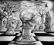 Chess Drawings Posters - Cemetery Chess Poster by Andrew Kirchner