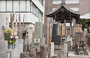 Place Of Burial Prints - Cemetery In Downtown Tokyo Japan Print by Bryan Mullennix