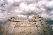 Cemetery Art Photos - Cemetery Mourners Draped Across Rose Coffin by Kathy Fornal