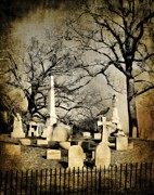 Eerie Digital Art Prints - Cemetery Shades Print by Gothicolors And Crows
