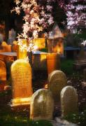 Cemetery Photos - Cemetery Stones and Flowers Burlington NJ by Richard Danek