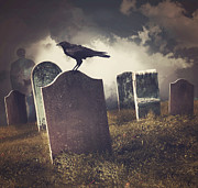 Background Art - Cemetery with old gravestones  by Sandra Cunningham