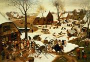 Snow Scenes Framed Prints - Census at Bethlehem Framed Print by Pieter the Elder Bruegel