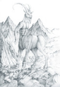 Goat Drawings - Centaur 2 by Curtiss Shaffer