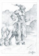 Extinct And Mythical Drawings Posters - Centaur 3 Poster by Curtiss Shaffer