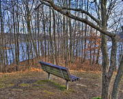 Howard County Posters - Centennial Lake Bench Poster by Stephen Younts