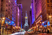 Illuminated Prints - Center City Philadelphia Print by Eric Bowers Photo
