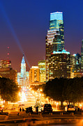 Benjamin Franklin Parkway Photos - Center City Philadelphia Night by Olivier Le Queinec
