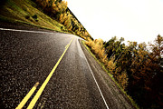 Alberta Landscape Posters - Center lines along a paved road in autumn Poster by Mark Duffy