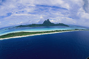 Helicopters Framed Prints - Center Of Bora Bora And Outer Rim Framed Print by Todd Gipstein