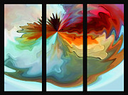 Subtle Colors Digital Art Posters - Center Piece triptych Poster by Terril Heilman