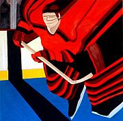 Hockey Painting Prints - Center Print by Yack Hockey Art