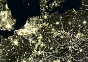 North Sea Posters - Central Europe At Night, Satellite Image Poster by Planetobserver