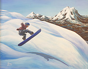 Skiing Action Paintings - Central Oregon Snowboarding by Janice Smith