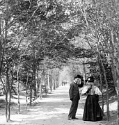 Man And Woman In Love Framed Prints - Central Park - Lovers Lane - New York City - c 1896 Framed Print by International  Images