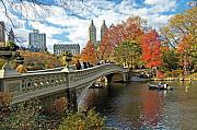 Park Posters - Central Park Autumn Cityscape Poster by Allan Einhorn