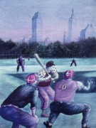 Baseball Drawings Acrylic Prints - Central Park Baseball - New York City Acrylic Print by Peter Art Prints Posters Gallery