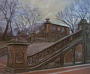 New York Mixed Media Originals - Central Park Bethesda Staircase by Anita Burgermeister