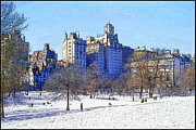 Nyc Snow Prints - Central Park Print by Chuck Staley