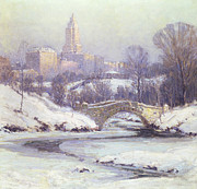 Snowy Stream Paintings - Central Park by Colin Campbell Cooper