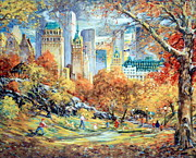 Park Scene Mixed Media Metal Prints - Central Park Fall Metal Print by Kamil Kubik