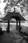 Tree Roots Digital Art Prints - CENTRAL PARK GAZEBO in BLACK AND WHITE Print by Rob Hans