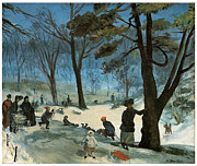 Park Scene Paintings - Central Park in Winter by William Glackens