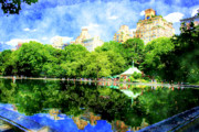 Toy Boat Art - Central Park by Julie Lueders