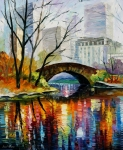 Cities Tapestries Textiles Originals - Central Park by Leonid Afremov