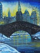 Snow And Night Sky Framed Prints - Central Park Framed Print by Nancy Rucker